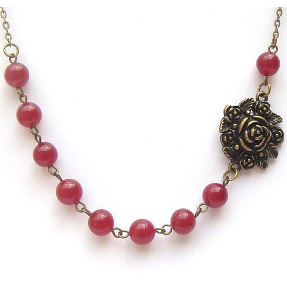 Antiqued Brass Flower Red Jade Necklace