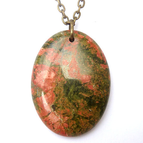 Antiqued Brass Unakite Oval Pendant Necklace