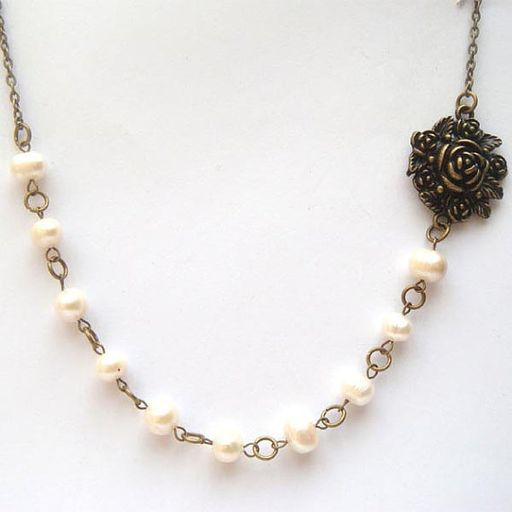 Antiqued Brass Flower White Pearl Necklace