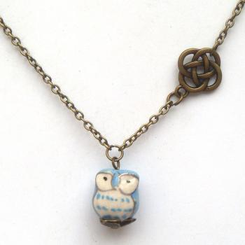 Antiqued Brass Lucky Knot Porcelain Owl Necklace