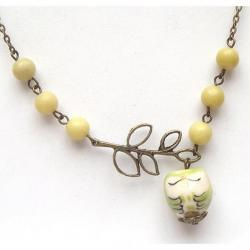 Antiqued Brass Leaf Lemon Jade Porcelain Owl Necklace