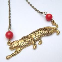 Antiqued Brass Cougar Red Coral Necklace
