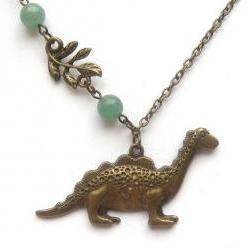 Antiqued Brass Leaf Dinosaur Jade Necklace
